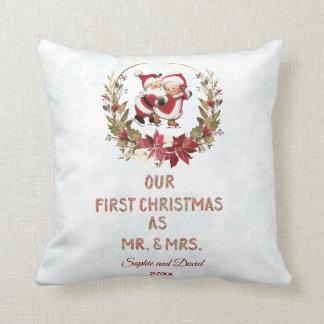 Our First Christmas Poinsettia Wreath Snowflakes Throw Pillow