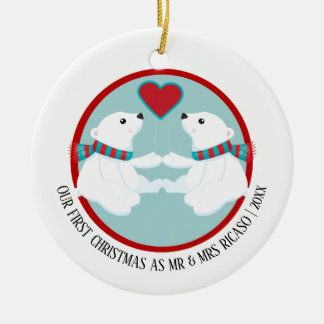 Our First Christmas Polar Bear Personalized Ceramic Ornament