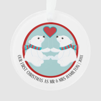 Our First Christmas Polar Bear Personalized Photo Ornament