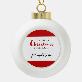 Our First Christmas Red and White Custom Ceramic Ball Christmas Ornament