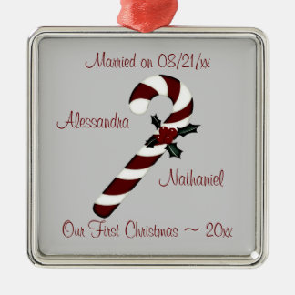 """""""Our First Christmas"""" - Red Candy Cane [b] Silver-Colored Square Ornament"""