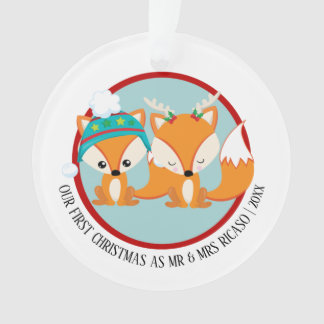 Our First Christmas Red Fox Personalized Photo Ornament