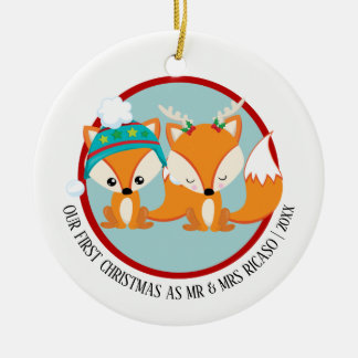 Our First Christmas Red Foxes Personalized Ceramic Ornament