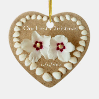 Our First Christmas - Sandy Beach with Heart Shell Ceramic Heart Ornament