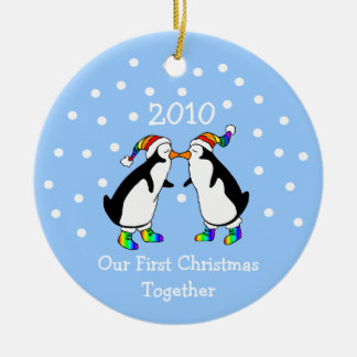 Our First Christmas Together 2010 (GLBT Penguins) Ceramic Ornament