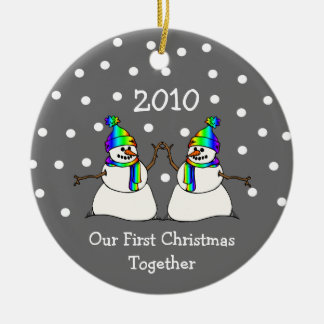 Our First Christmas Together 2010 (GLBT Snowmen) Round Ceramic Ornament