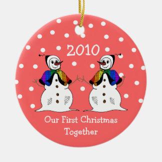 Our First Christmas Together 2010 (GLBT Snowwomen) Round Ceramic Ornament