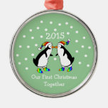 Our First Christmas Together 2015 (LGBT Penguins) Silver-Colored Round Ornament