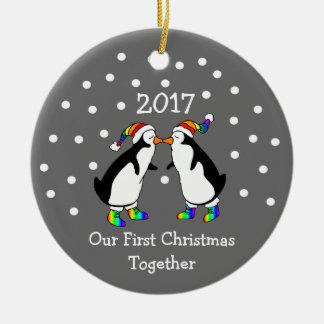 Our First Christmas Together 2017 (GLBT Penguins) Ceramic Ornament