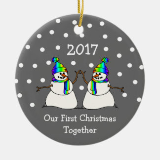 Our First Christmas Together 2017 (GLBT Snowmen) Ceramic Ornament