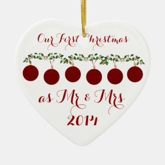 Our First Christmas Together Ceramic Heart Ornament