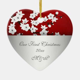 Our First Christmas Together Cherry Blossom Ceramic Ornament