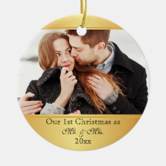 Our First Christmas Together Custom Round Ceramic Ornament