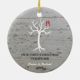 Our first Christmas together love birds tree Ceramic Ornament