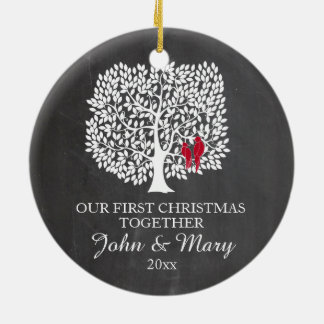 Our first Christmas together ornament, love birds Round Ceramic Ornament