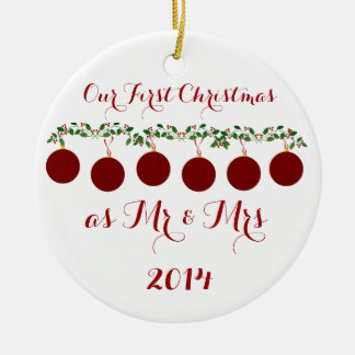 Our First Christmas Together Round Ceramic Ornament