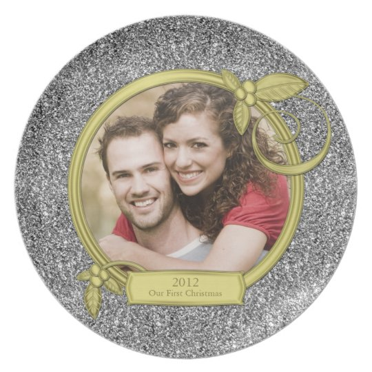 Our First Christmas Together Silver Gold Photo Plate