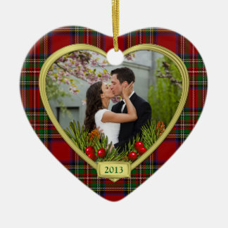 Our First Christmas Together Tartan Photo Xmas Ceramic Heart Ornament