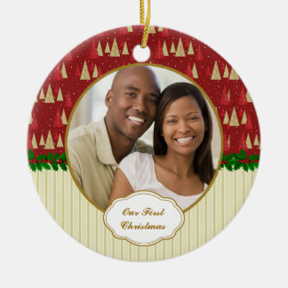 Our First Christmas Tree Photo Round Ceramic Ornament