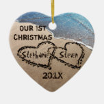 Our First Christmas Two Hearts In Sand Ornament