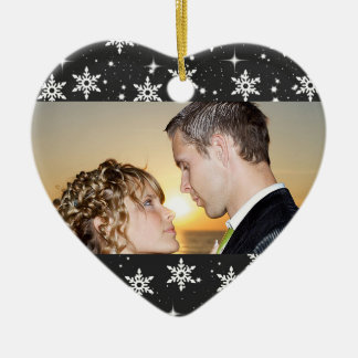 Our First Christmas Wedding Photo Ornament,Black Ceramic Heart Ornament