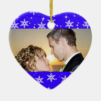 Our First Christmas Wedding Photo Ornament,Blue Ceramic Heart Ornament