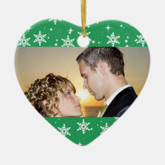 Our First Christmas Wedding Photo Ornament, Green Ceramic Heart Ornament