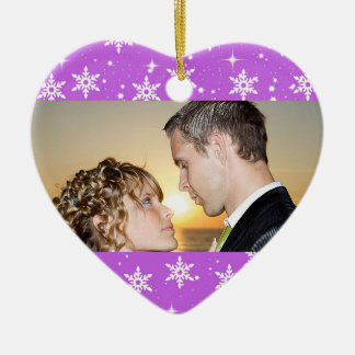 Our First Christmas Wedding Photo Ornament, Purple Ceramic Heart Ornament