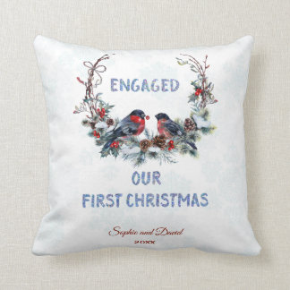 Our First Christmas Winter Wreath with Bullfinches Throw Pillow