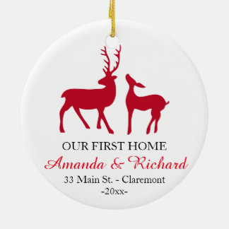 Our first home Christmas tree ornament, love deer Round Ceramic Ornament