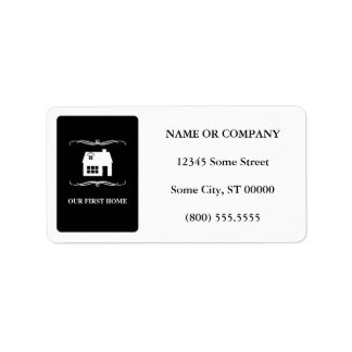 our first home (mod black and white) label