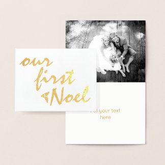 Our first Noel holly berry Christmas gold Foil Card