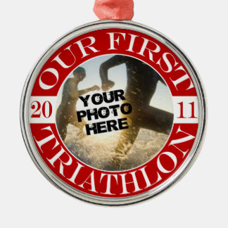 Our First Triathlon - 2011 Silver-Colored Round Ornament