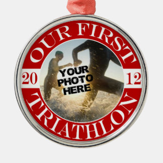 Our First Triathlon Silver-Colored Round Ornament