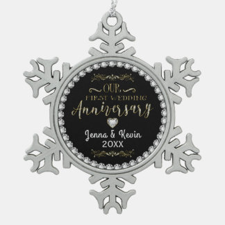 Our First Wedding Anniversary Pewter Snowflake Ornament