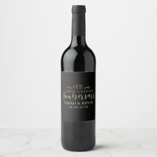 Our First Wedding Anniversary Typography Design Wine Label