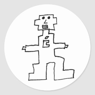 our genius robot in sticky form round sticker