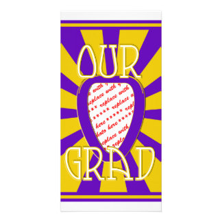 'OUR GRAD' Purple & Gold Photo Frame - ZOOM! Customized Photo Card