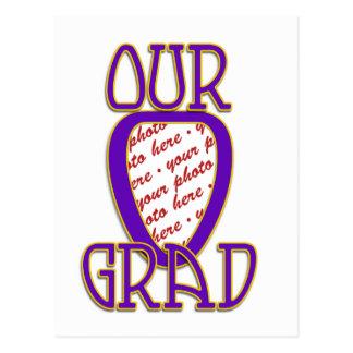OUR GRAD Purple & Gold School Colors Frame Postcard