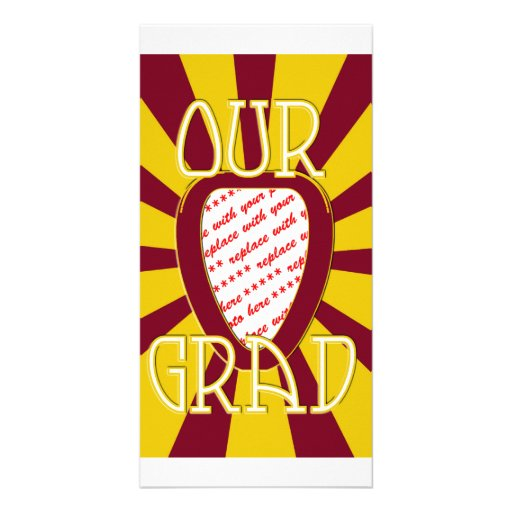 'OUR GRAD' Red & Gold Photo Frame - ZOOM! Personalized Photo Card