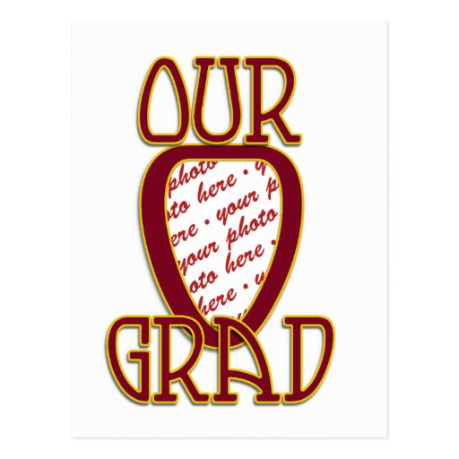 OUR GRAD Red & Gold School Colors Photo Frame Post Cards