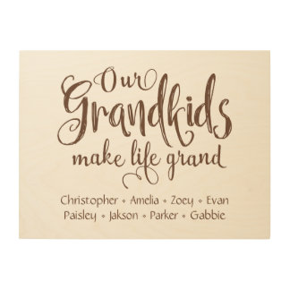 """Our Grandkids Make Life Grand"" Personalized Wood Wall Decor"
