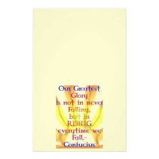 """""""Our Greatest Glory""""- Confucius Quote Stationery"""