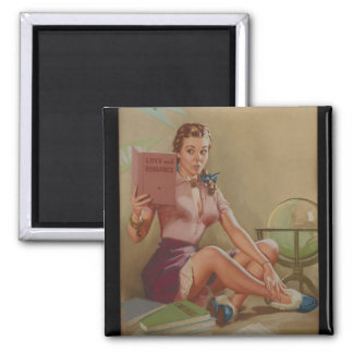 Our Knowledge and Experience Pin Up Art Square Magnet