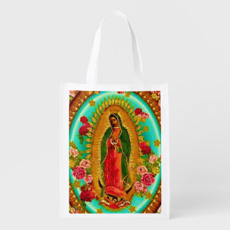 Our Lady Guadalupe Mexican Saint Virgin Mary Reusable Grocery Bag