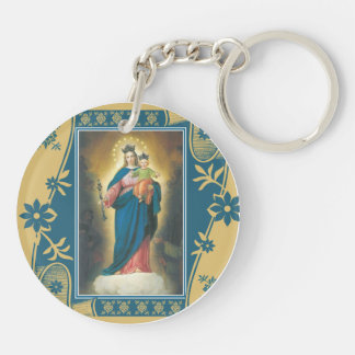 Our Lady Help of Christians with Baby Jesus Double-Sided Round Acrylic Keychain