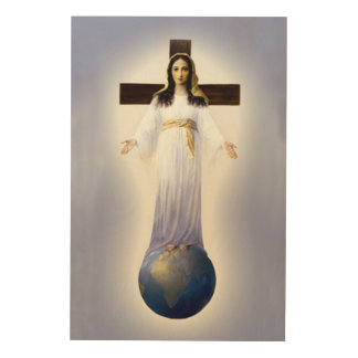 Our Lady of All Nations Devotional Image. Wood Wall Decor