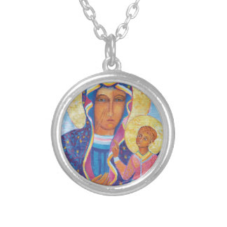 Our Lady of Czestochowa Black Madonna Poland Silver Plated Necklace
