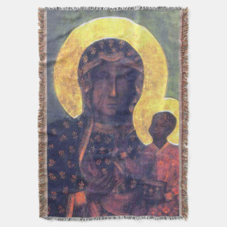 Our Lady of CzestochowaVirgin Mary icon Blanket Throw Blanket