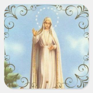 Our Lady of Fatima Decorative Border Square Sticker